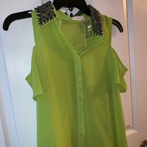 Lime Green Lush Shirt With Beading